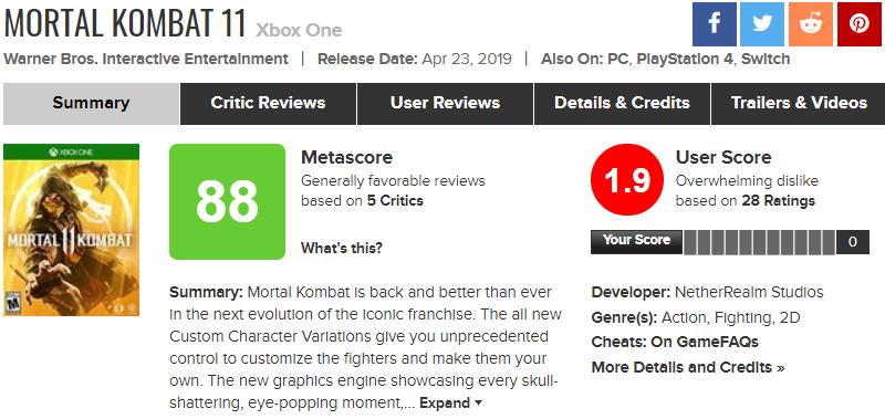 Пользователи обрушили рейтинг Mortal Kombat 11