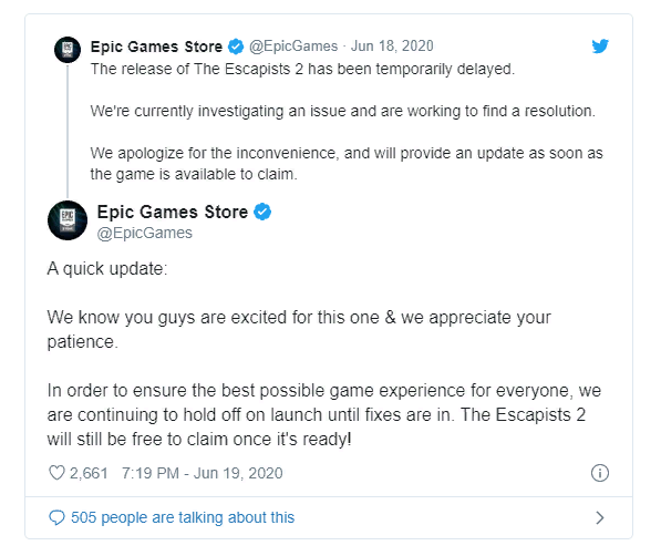 Релиз The Escapists 2 в Epic Games Store перенесли