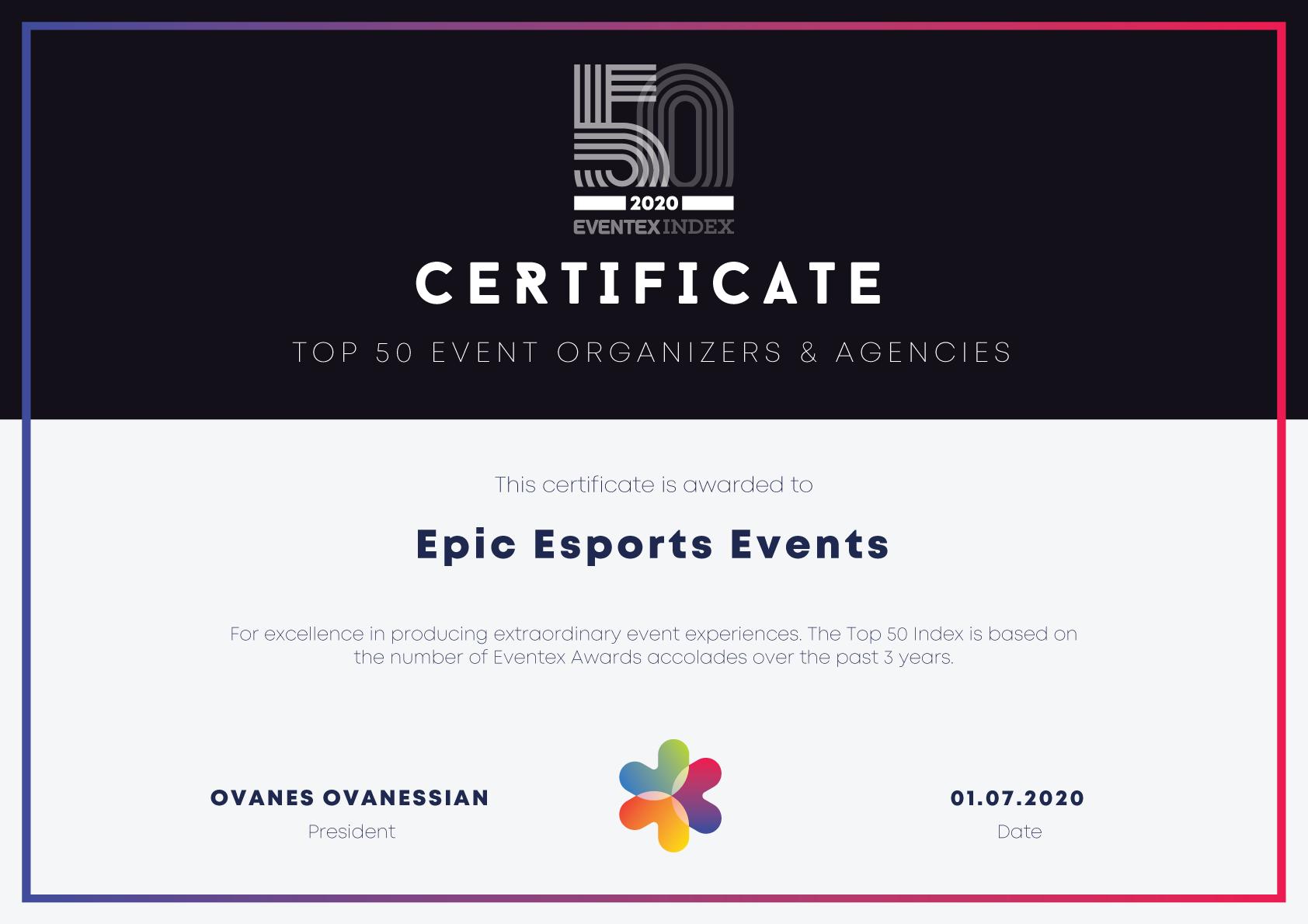 Epic Esports Events занял 15 место среди 50 лучших ивент-компаний мира по версии Eventex